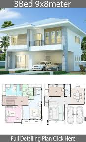 Home design plan 9x8m with 3 bedrooms - Home Design with Plansearch |  Family house plans, House plans mansion, 2 storey house design