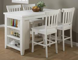 Reclaimed Pine Counter Height Table Set With 3 Shelf Storage By