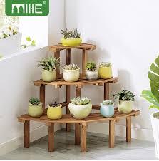 details about 3 tier corner flower pot stand pine wood garden rack plant display shelf decor