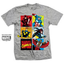 Montage Size Chart Marvel Comics Marvel Montage Mens Grey T Shirt Attitude Europe