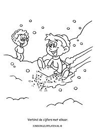 Kleurplaat Sneeuwpret Cijfers Spelletjes