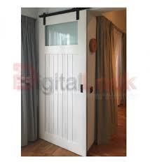 details description white barn door with glass