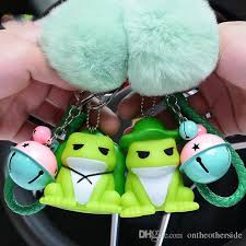 cute cartoon traveling frog toys fur ball pompom pom poms keychain women leather strap metal key ring chains car bag charm unique keychains keychain from