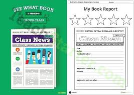 Book Report Template Newspaper Themed Us Teaching Resource