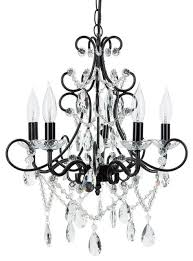 theresa 5 light wrought iron crystal chandelier black