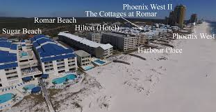 aerial image of the western most tip of orange beach with condos labeled