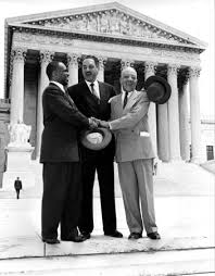 brown v board of education of topeka definition facts left to right lawyers george e c hayes thurgood marshall and james m