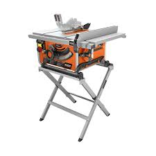ridgid 15 amp 10 in compact table saw with folding x stand