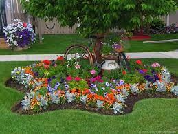 landscaping around trees flower garden