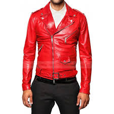 men s elegant red biker leather jacket cairoamani com