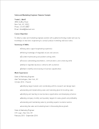 Free Sales Marketing Engineer Resume Templates At