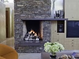 modern living room design ideas presenting stone fireplace concrete mantel shelf