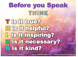 Think Of Others Before Yourself Quotes Best of QUOTE POSTER Before You Speak THINK What Will Matter