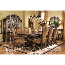aico 8pc windsor court rectangular dining table set with china cabinet in