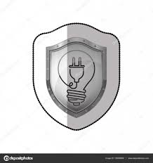 Light Bulb Shield Middle Shadow Sticker Of Shield With Light Bulb With