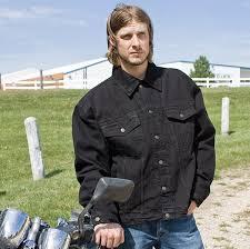 allstate leather inc men s black denim jacket