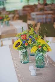 Blue Mason Jars Wedding Decor Farm Wedding Knoxville Dixie Pixel Photography 52