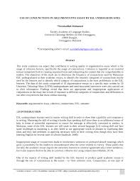 Pdf Use Of Conjunctions In Argumentative Essay By Esl