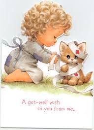 Little Girl And Kitten Get Well Card This Is For All The Fb