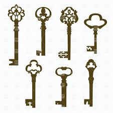 silhouettes of antique door keys with ornate handles vector image vector artwork of objects to zoom