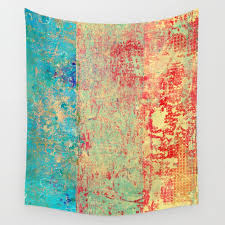 brilliant encounter abstract art turquoise red wall tapestry