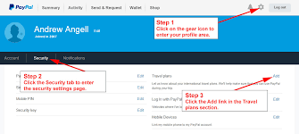 travel profile paypal travel schedule settings avoid paypal account