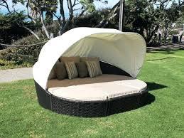 Outdoor Sunbed With Canopy Bed Rattan Wicker Patio Sunbed Outdoor ...