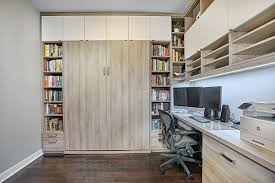 office wall bed. Wall Bed,custom Cabinetry, Condo Living, Home Office, Modern Office Bed