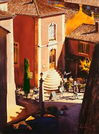 watercolor of rousillon france by john hulsey