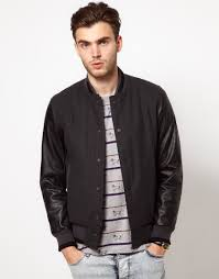 lyst asos wool baseball jacket with leather look sleeves in gray