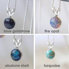 tiny semi precious stone silver necklace
