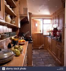 Stone Floors For Kitchen Stone Floor Tiles In Narrow Country Kitchen With Fitted Wooden