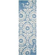 safavieh bella light blue ivory 2 ft x 7 ft runner rug