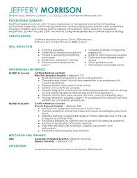 Samples Of Resumes For Medical Assistant Gallery Creawizard Com