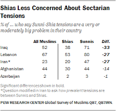 Comparison Chart Of Sunni And Shia Islam Many Sunnis And Shias Worry About Religious Conflict Pew