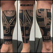 Marquesan Inspired Lower Leg Done Built Michelangelo Tattoo