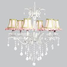 jubilee 6 light glitz chandelier with pink white striped ruffled shades and sage green trim