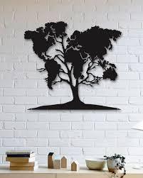 world map on tree wall art