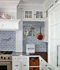 kitchen backsplash blue subway tile. Blue Tile Backsplash With Pot Rack In The Kitchen Subway B