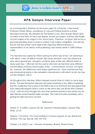 Check Out Flawless Sample Interview Paper In Apa Format