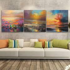 Aliexpress : Buy 3 Piece Abstract Wall Art Canvas Sunset Beach Throughout 3  Piece Beach Wall