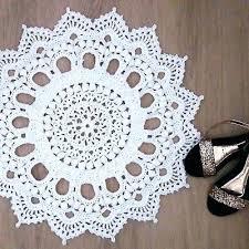 crochet white handmade doily round rug carpet cm inch vintage look rugs for australia t shirt rug crochet
