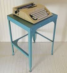century office equipment. industrial turquoise metal typewriter stand - vintage mid century office equipment steel blue shabby square c