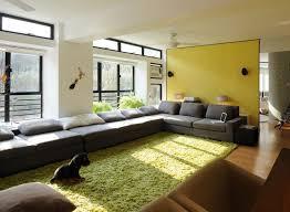 green area rugs in modern minimalist living room