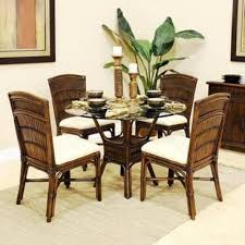 polynesian furniture. Polynesian Indoor 5 Piece Rattan And Bamboo Dining Set With Four Side Chairs Round Base Furniture