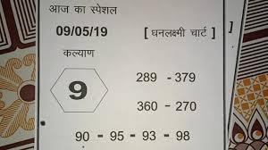 Kalyan V I P Special Dhanlaxmi Chart Free Date 09 05 19