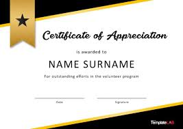 Volunteer Certificates 30 Free Certificate Of Appreciation Templates And Letters