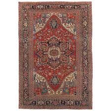antique persian heriz carpet handmade wool oriental rug red and navy light blue