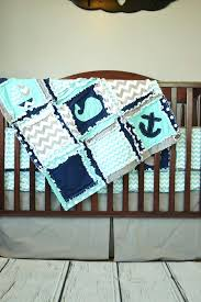 whale crib sets nautical crib bedding boats whales and anchors aqua navy and gray a vision