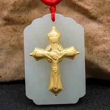 gift hetian jade cross pendant 3d three dimensional pattern gold jade pendant necklace fashion jewelry jade
